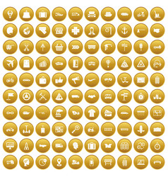 100 delivery icons set gold vector