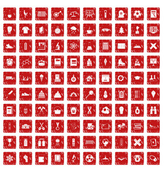 100 school years icons set grunge red vector image vector image