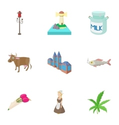 Tourism in holland icons set cartoon style vector