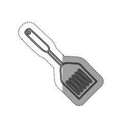Sticker silhouette frying spatula utensil kitchen vector