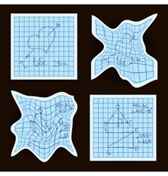 Crumpled sheet of exercise book vector