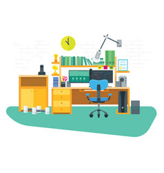 Flat freelancer workspace vector