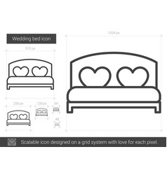 Wedding bed line icon vector