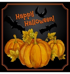 Greeting halloween card with watercolor pumpkins vector