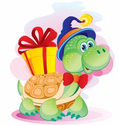 Turtle with a gift vector