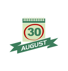 30 august calendar with ribbon vector
