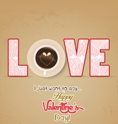 Cup of coffee with heart valentines day vector