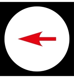 Sharp left arrow flat red and white colors round vector
