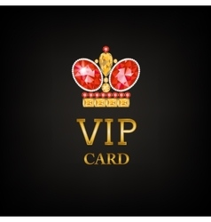 Vip card with ruby king crown vector