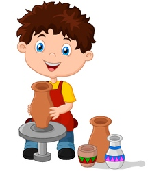 Happy little boy creating a vase on a pottery whee vector
