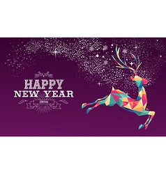 Happy new year 2016 reindeer color triangle vector