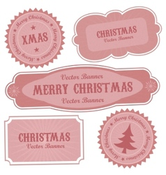 Christmas retro design labels vector
