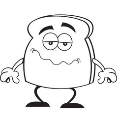 Cartoon unhappy piece of toast vector