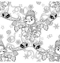 Zentangle doodle hand drawn christmas snowman ski vector