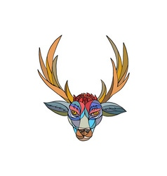 Red stag deer head mosaic vector