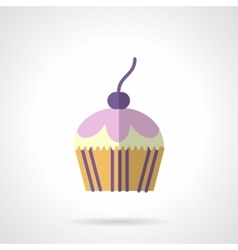 Color berry muffin flat icon vector