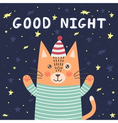 Good night card with a cute cat vector