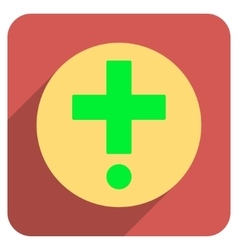 Pharmacy flat rounded square icon with long shadow vector