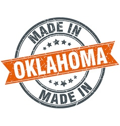 Oklahoma orange grunge ribbon stamp on white vector