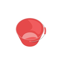 Red glossy plastic bucket on white background vector