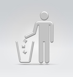 Person throws garbage vector