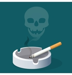 Ashtray with cigarette and skull made of smoke vector