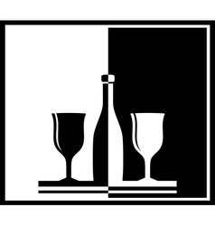 black and white background with bottle and wine vector image