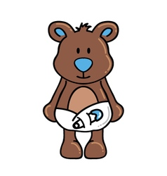 Boy bear wearing diapers vector