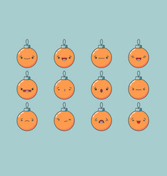 christmas ball emoji set vector image vector image