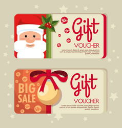 Christmas gift voucher gift card vector