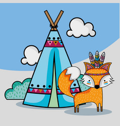 Cute fox tribal animal with camp and clouds vector