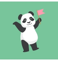 Cute panda character with pink flag vector