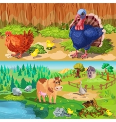 Farm Animals Banners Set vector image vector image