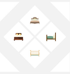 Flat set of cot mattress bed and other vector