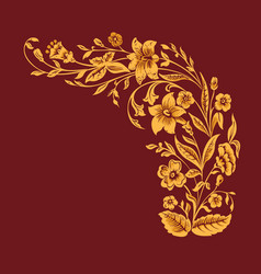 Floral pattern gold painting flowers on burgundy vector