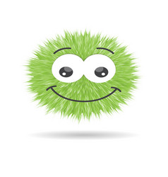 fluffy pompom fur ball isolated emoticon vector image vector image