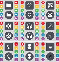 Folder heart retro phone videotape headphones star vector