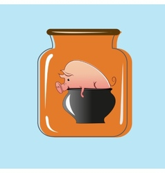 Glass jar with canning pork design vector