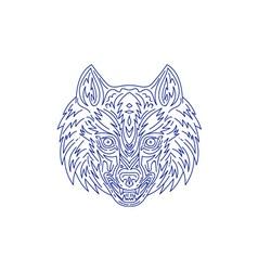 Grey wolf head mono line vector