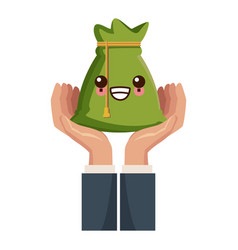 hand with bag of money kawaii cartoon vector image