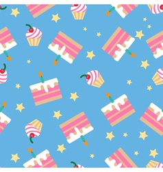 Happy birthday seamless pattern with cakes vector