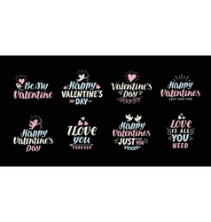 Happy valentines day lettering card label vector