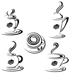 Hot coffee mugs vector