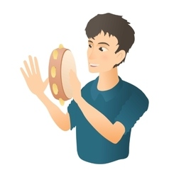 Man plays on tambourine icon flat style vector