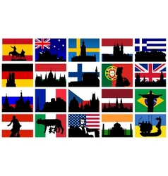 monuments with flags vector image