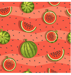 Pattern of watermelon and slices seamless vector