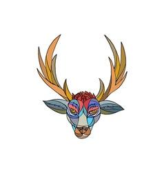 Red Stag Deer Head Mosaic vector image vector image