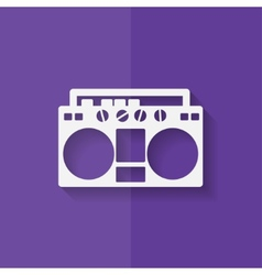 Retro tape recorder hipster style Flat design vector image vector image