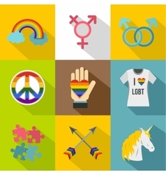 Sexual minorities icons set flat style vector