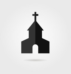 simple black church icon with shadow vector image